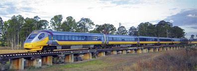 »Tilt Train Zugreisen von Bisbane nach Hervey Bay«