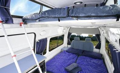 »Camper Innenansicht - Betten und Ausstattung«