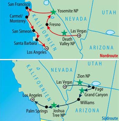 »Der Reiseverlauf:  Nordroute oben bzw. Südroute unten«